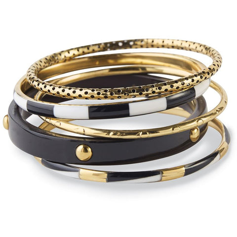 Barcelona Bangle Set Black & Gold