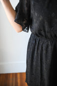 Cassidy Ruffle Sleeve Chiffon Black Dress