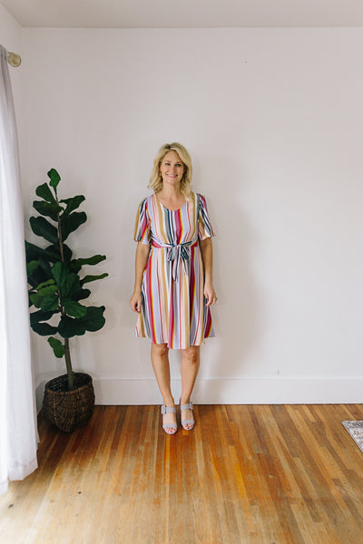 Hudson Stripe Front Tie Flounce Dress