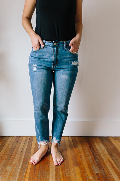 Kelly Raw Hem Boyfriend Jeans