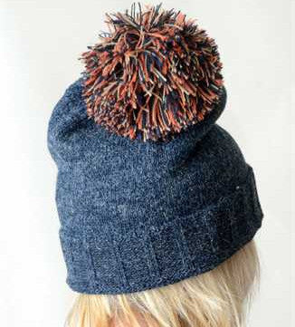 Navy & Orange Pom Pom Hat