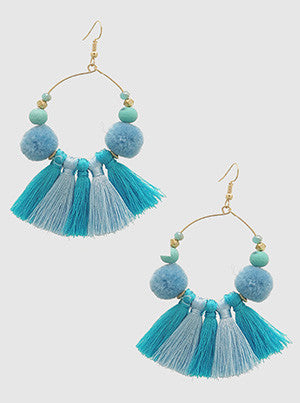 Aqua Pom & Tassel Hoop Earrings