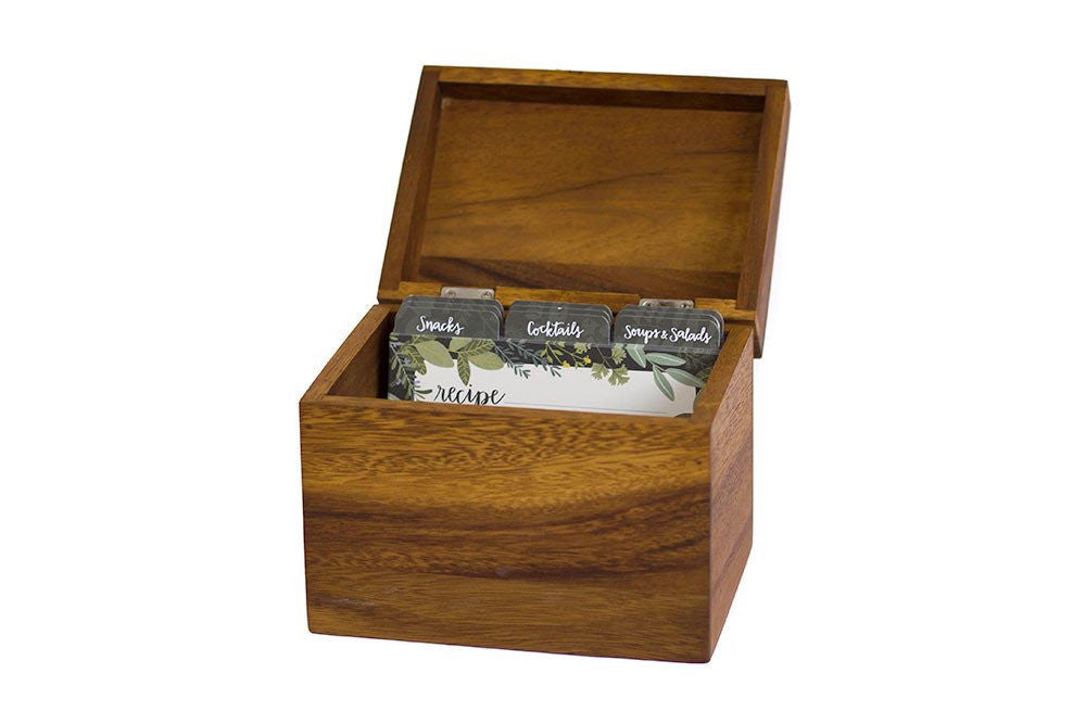 Acacia Wood Recipe Box & Cards