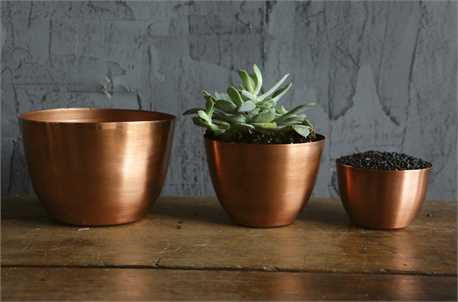 Set of 3 Decorative Copper Finish Bowls