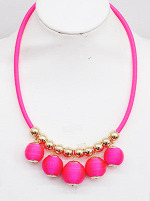 Thread & Cord Ball Statement Necklace