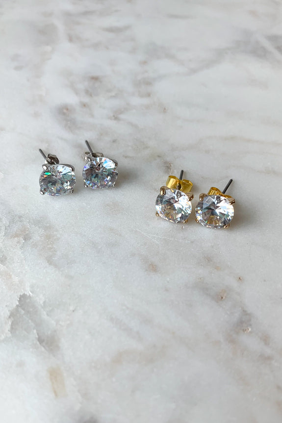 Round Cubic Zirconia Post Earrings