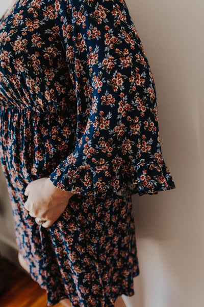 Fauna Navy Floral Dress- Plus