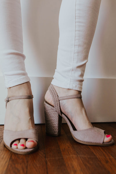 Lindy Open Toe Suede Heel