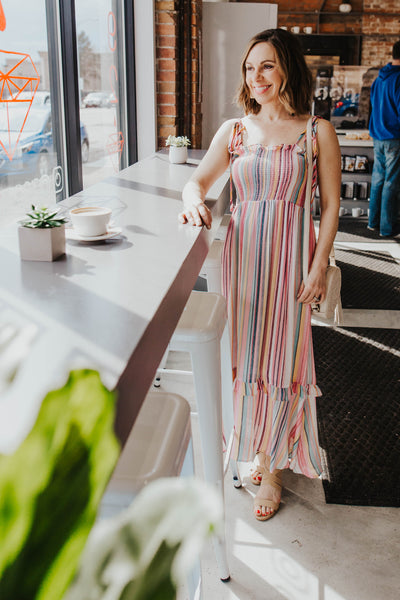 Hailey Multi-Stripe Midi Dress