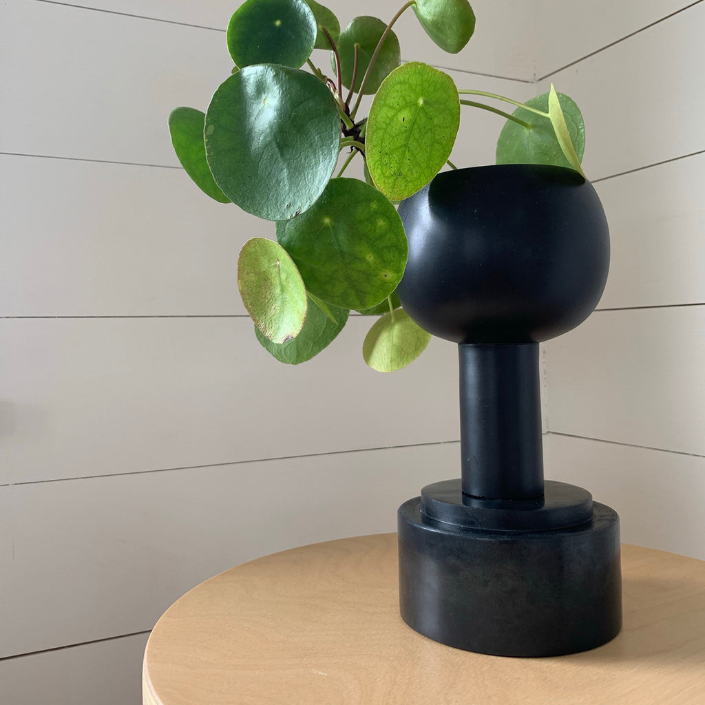 M+A NYC Orb Planter and Totem Plinth Bowl in Soapstone