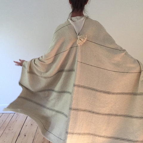 Hand Loomed Cotton Offset Stripe Cape - M + A NYC