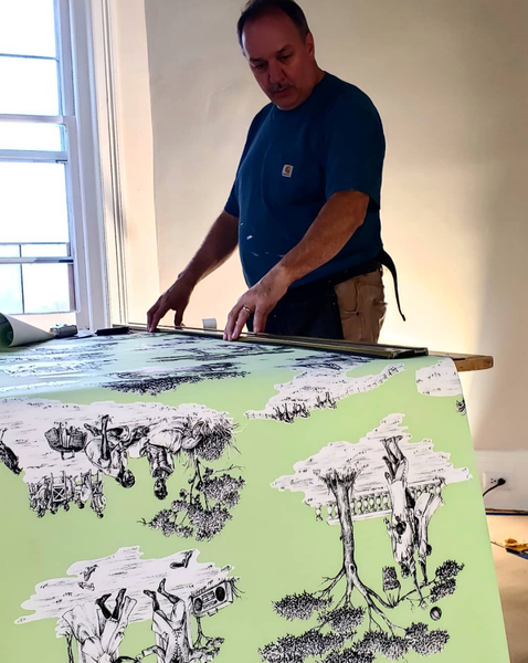 Photo of wallpaper getting prepared for the Kingston Design Showhouse 2020