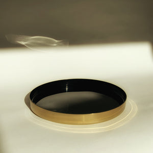M+A NYC Enamel and Brass Plated Small Round Tray