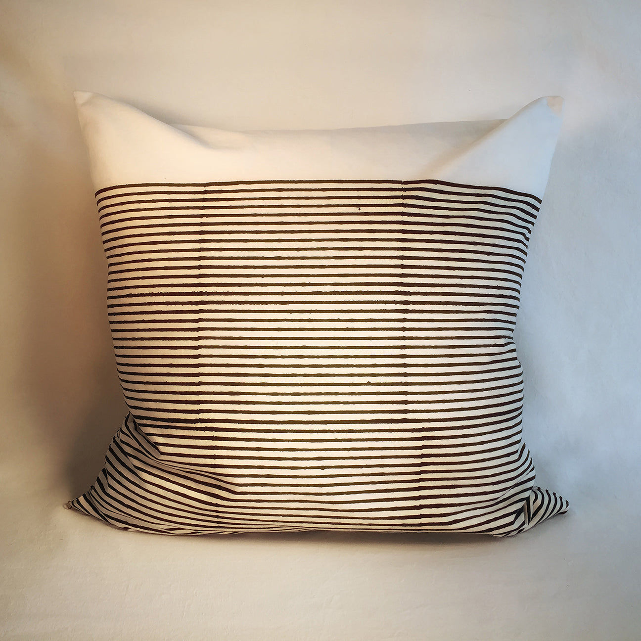 "M+A NYC Block Print Breton Stripes 24"" Square Pillow"
