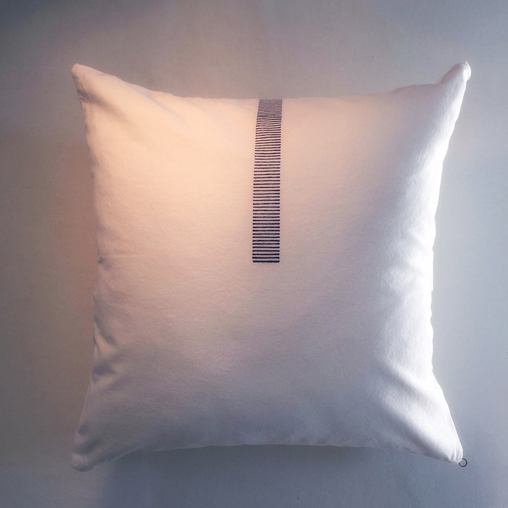"M+A NYC Block Print Pixelated Stripe 18"" Square Pillow"