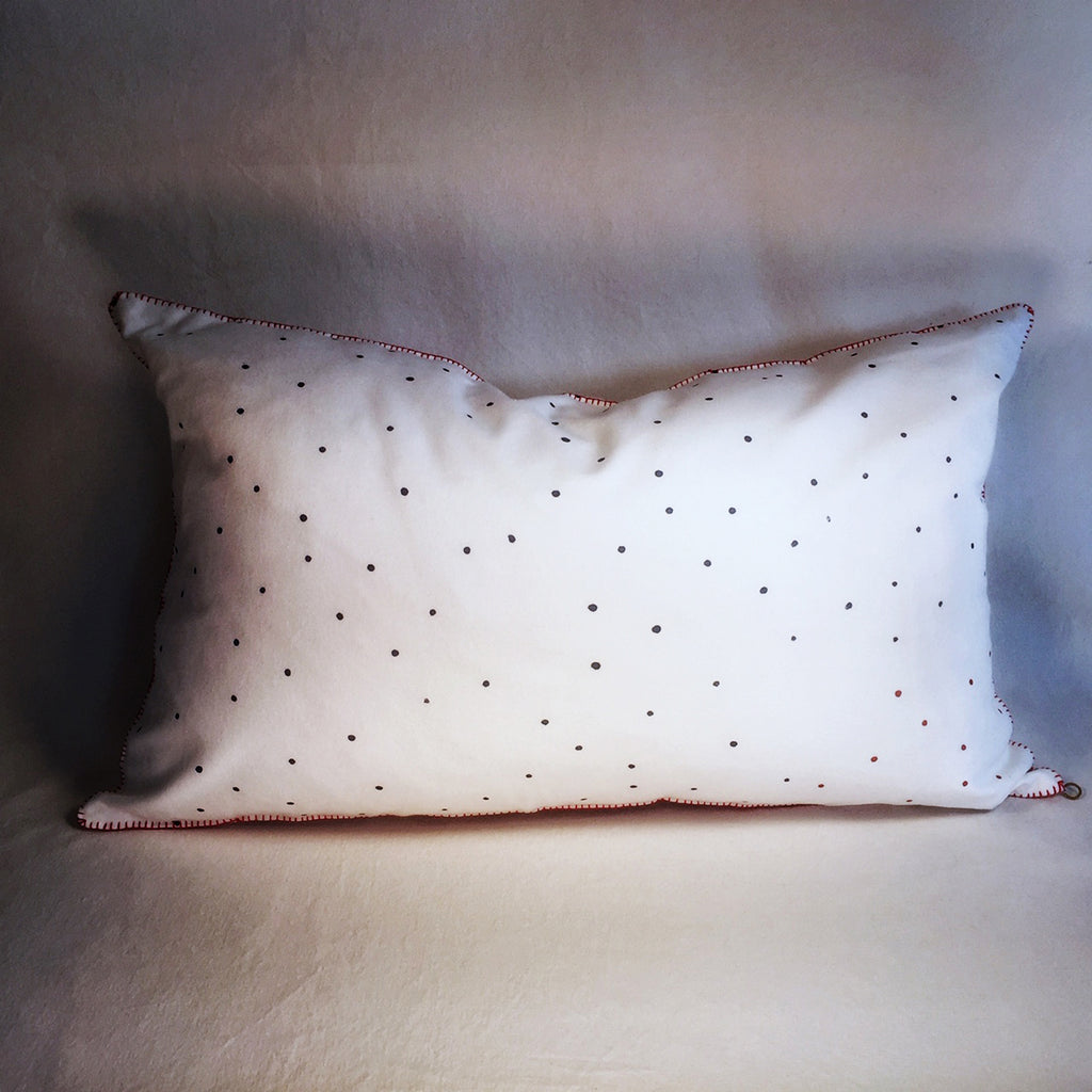 "M+A NYC Block Print Scattered Dots 22"" x 13 1/2"" Lozenge Pillow"