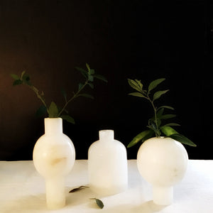 M+A NYC Bottle Vase Alabaster