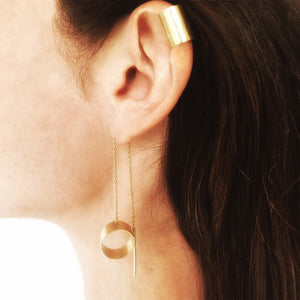 M+A NYC Ear Cuff Hammered Vermeil shown with Thread Earring