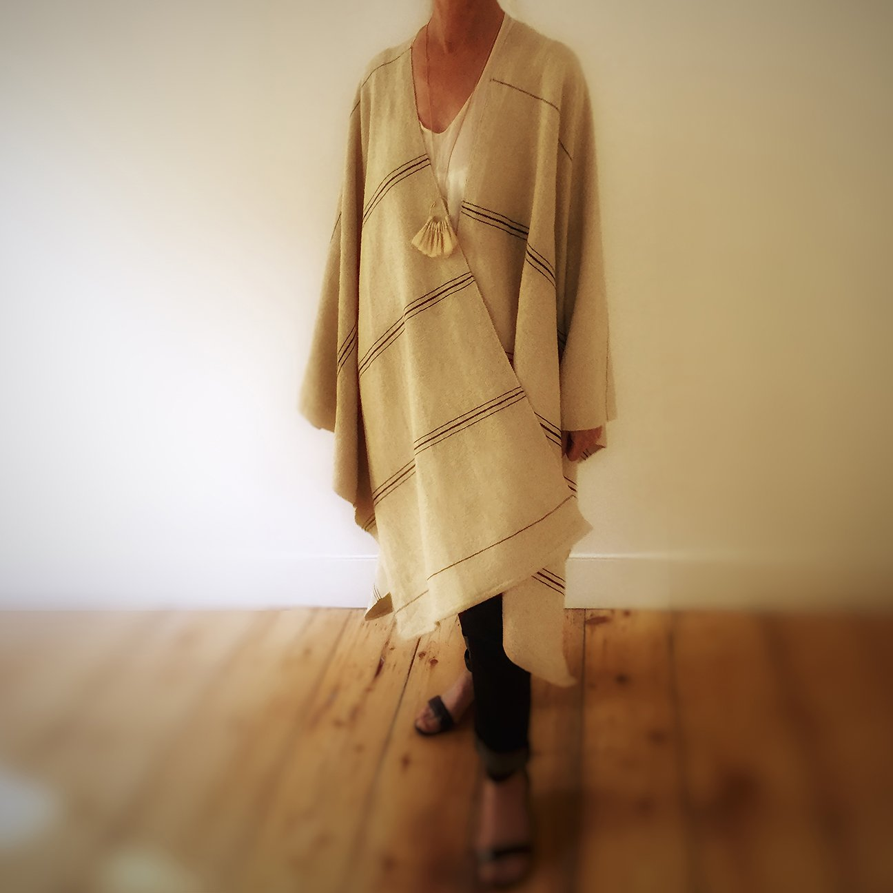 M+A NYC Hand Loomed Cotton Offset Stripe Cape