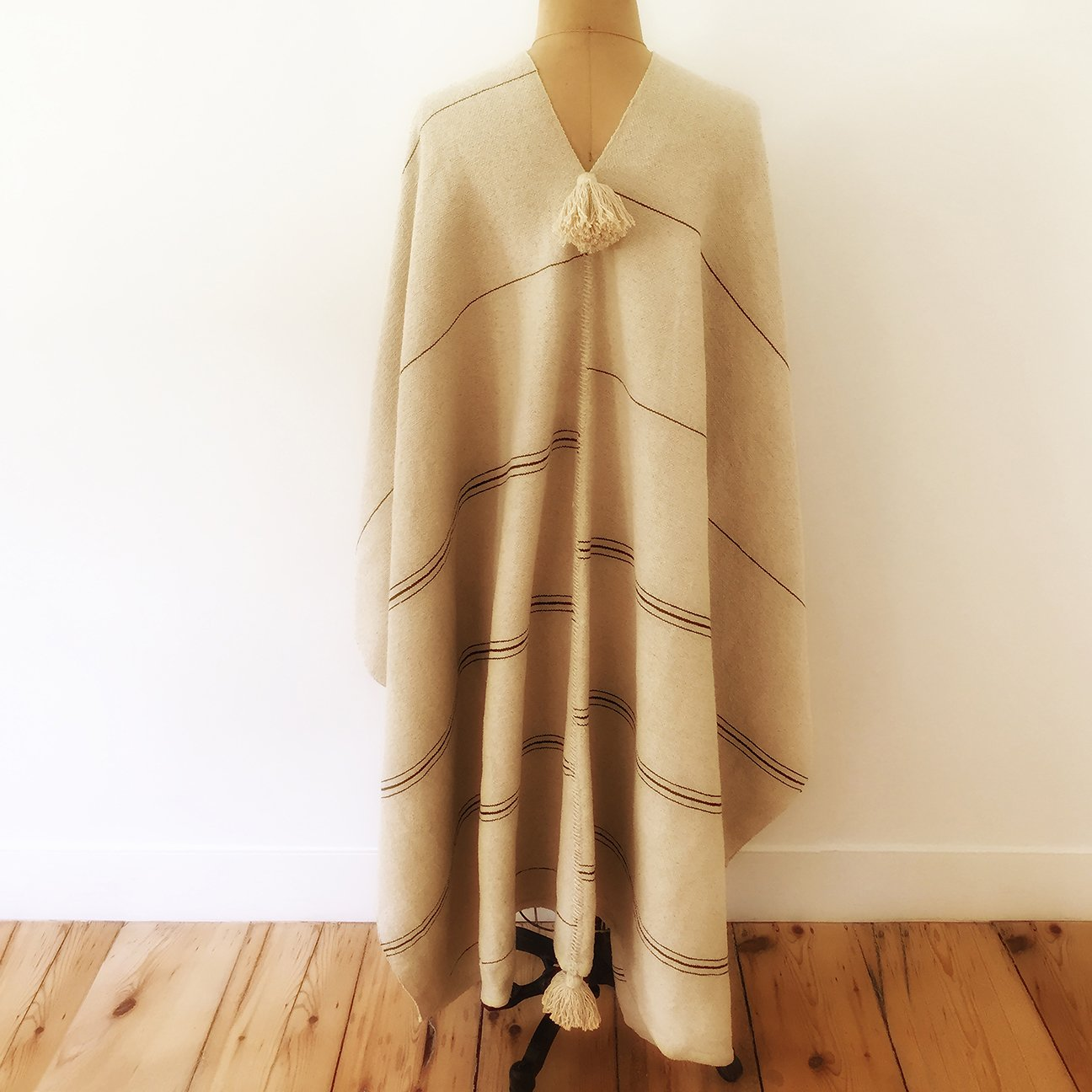 M+A NYC Hand Loomed Cotton Offset Stripe Cape - Back