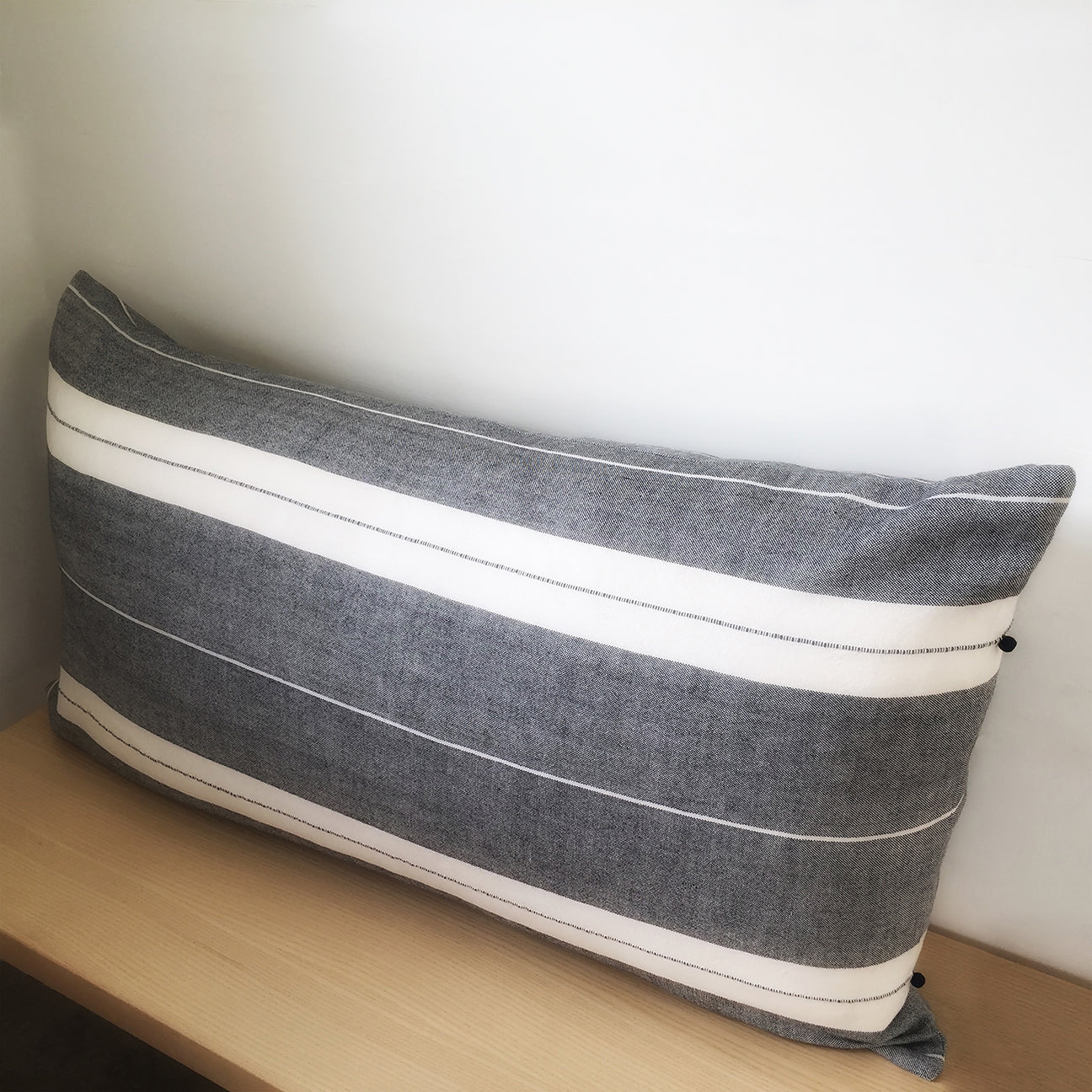 "M+A NYC Handloomed Stripe Large Lumbar Pillow 40"" x 20"""