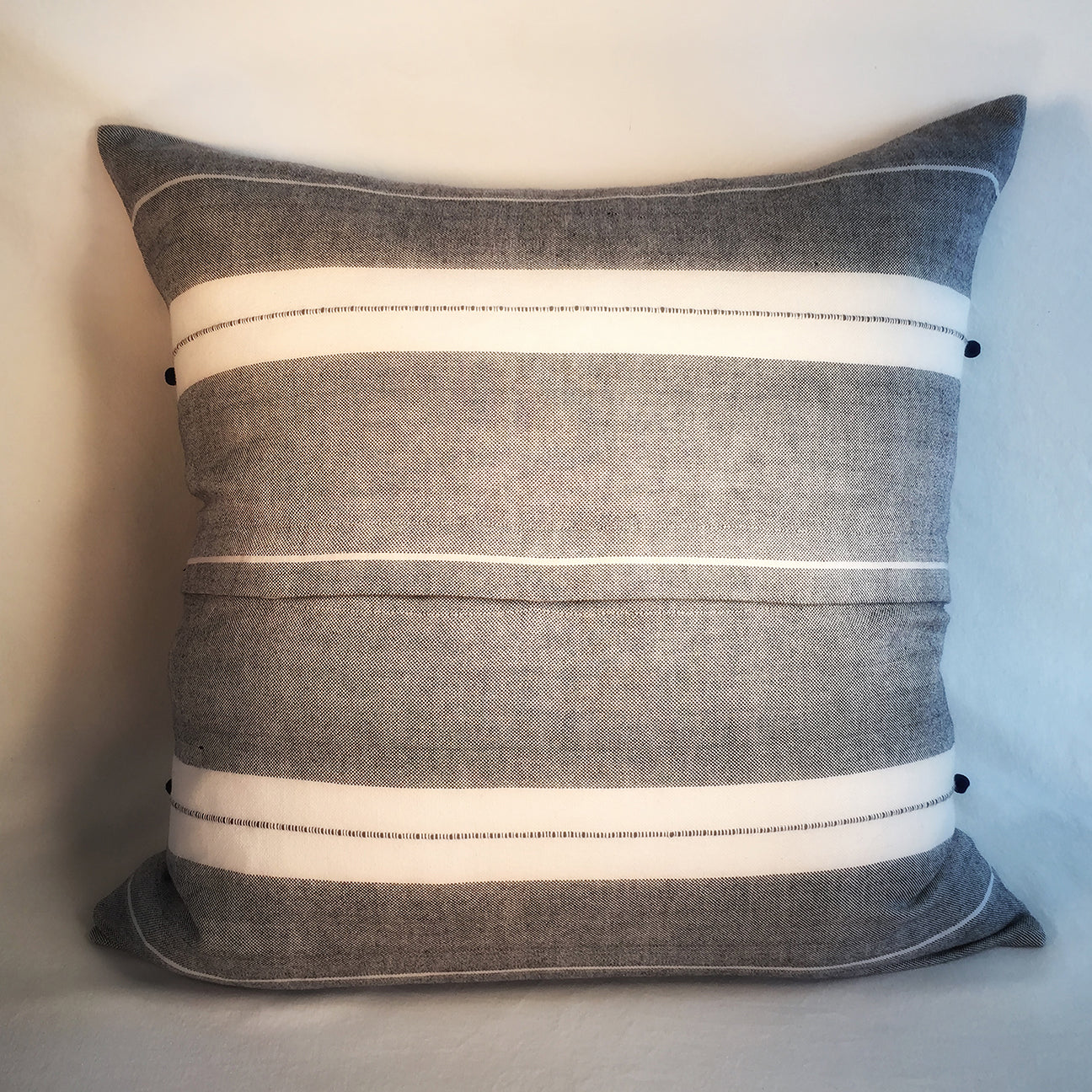 "M+A NYC Handloomed Multi Stripe 24"" Pillow - Var 2"