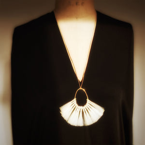 M+A NYC Horse Hair Fan Tassel Necklace - Blonde