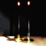 M+A NYC Pogo Candle Stands - View of Brass and Silver Colors