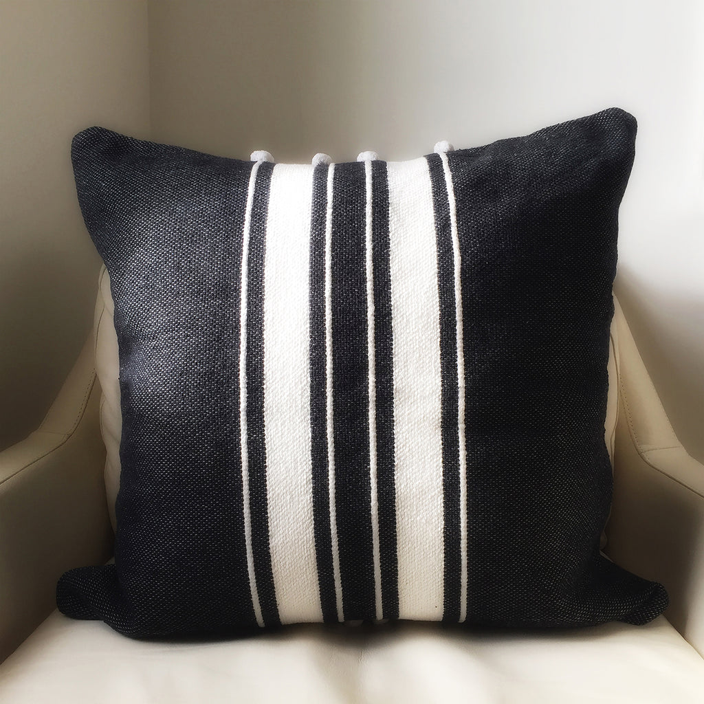 "M+A NYC Ribbon Stripe Hand Loom 20"" Throw Pillow"
