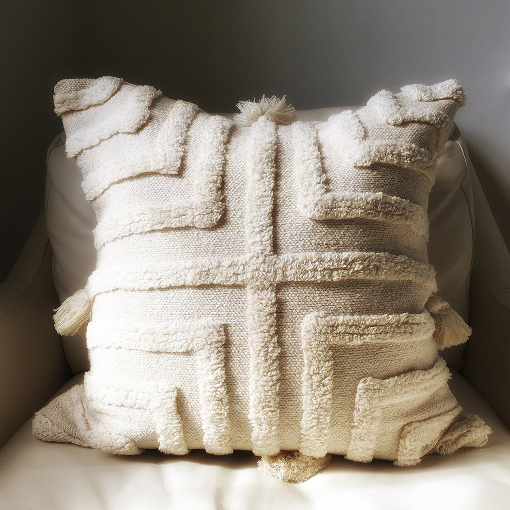 "M+A NYC Stella Handloomed and Tufted Cotton 18"" Pillow"