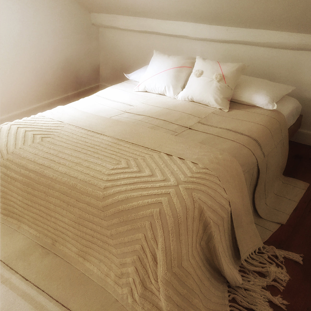 M+A NYC Stella Handloomed and Tufted Cotton Oversize Throw