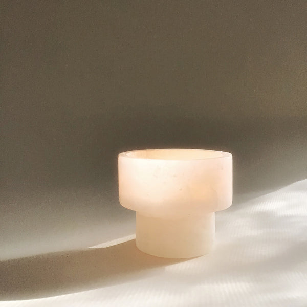 M + A's Totem Plinth Votive Holder in Alabaster