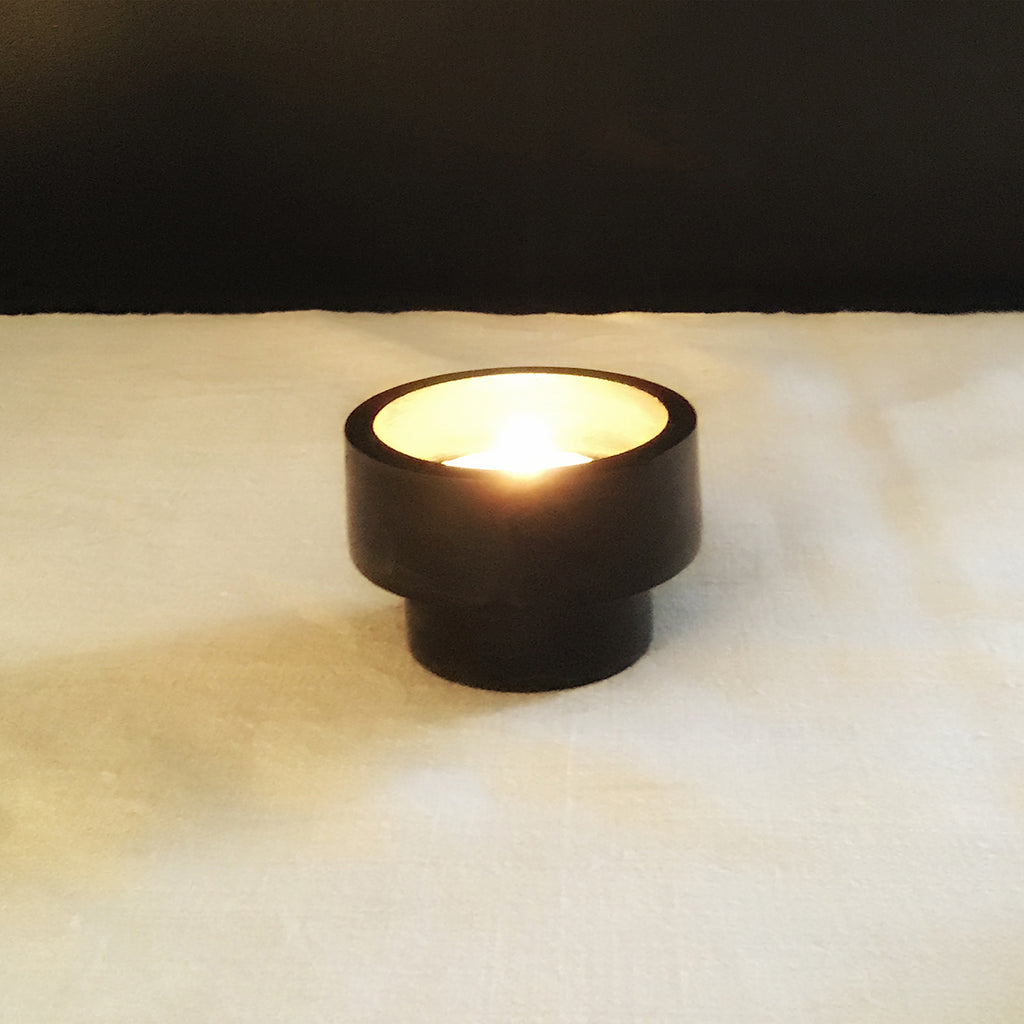 M+A NYC Plinth Votive Holder - Black Soapstone