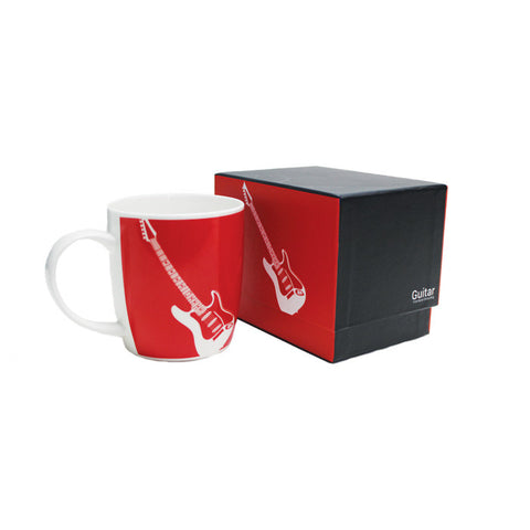 Silhouette Bone China Boxed Mug Elec Guitar Red