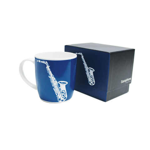 Silhouette Bone China Boxed Mug Saxophone Blue