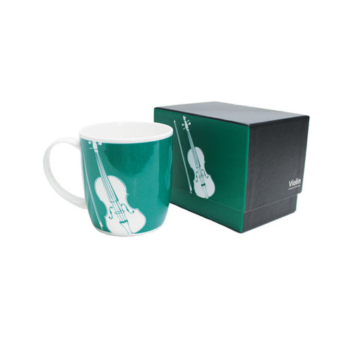 Silhouette Bone China Boxed Mug Violin Teal