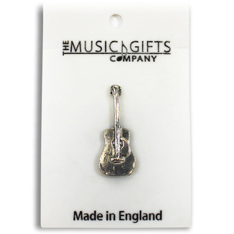 Pewter Acoustic Guitar Pin Badge