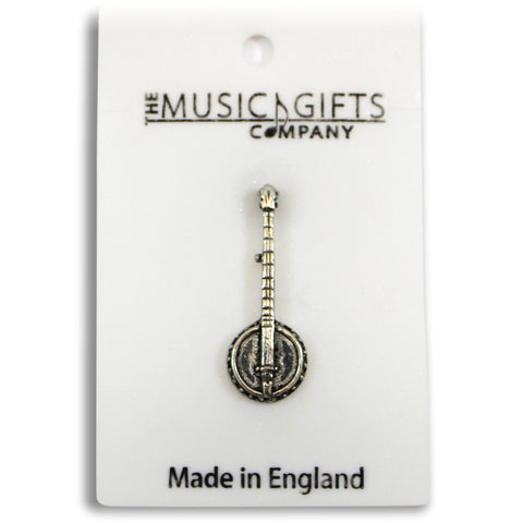 Pewter Banjo Pin Badge