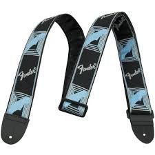 "Fender 2"" Monogrammed Straps Black/Light Grey/Blue"
