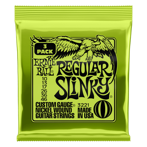 Ernie Ball Regular Slinky Electric Guitar Strings 3 Pack