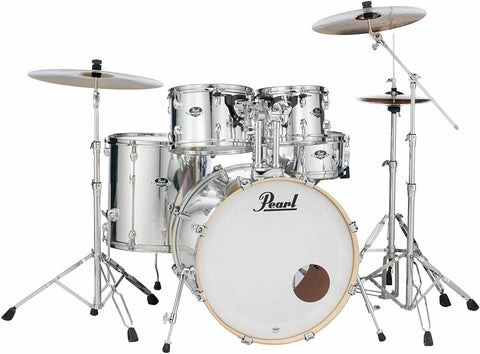 Pearl EXX725SBR Export Drum Kit Mirror Chrome With Cymbals