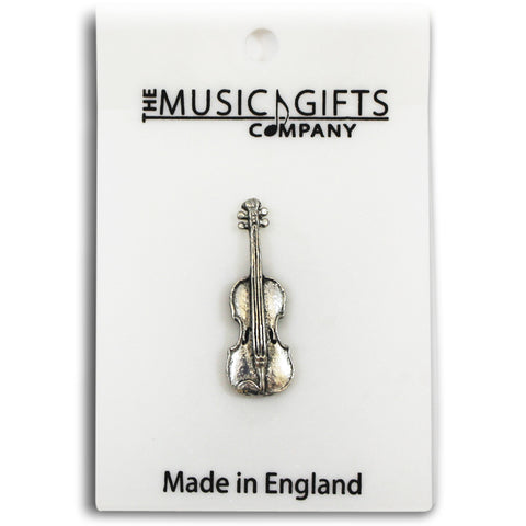 Pewter Violin Pin Badge