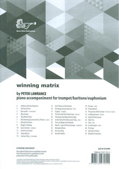 Winning Matrix for Trumpet Piano Accompaniment