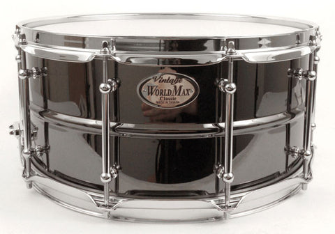 "Worldmax 14"" x 6.5"" Black Brass With Chrome Snare Drum"