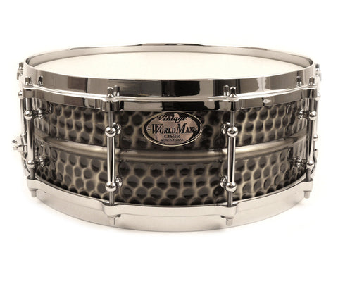"Worldmax 14"" x 5"" Brass Hammered Snare Drum"