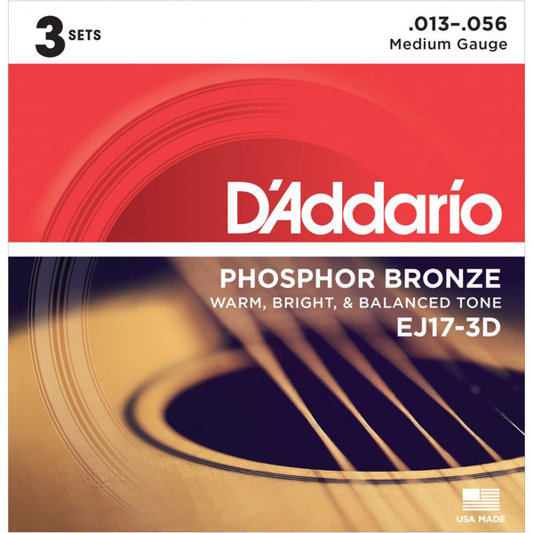 D'addario EJ17 3 Pack Phosphor Bronze Medium