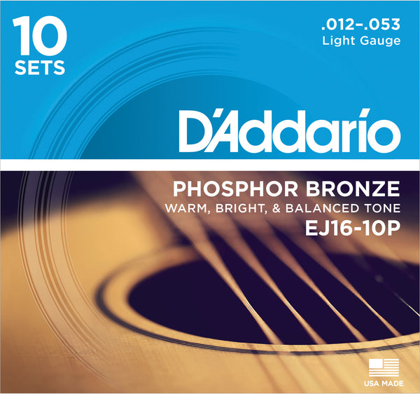 D'Addario EJ16-10P Phosphor Bronze Light (.012-.053) Acoustic Guitar Strings 10 Sets