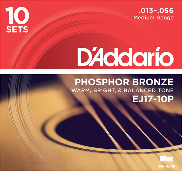 D'Addario EJ17-10P Phosphor Bronze Acoustic Guitar Strings Medium 13-56 10 Sets