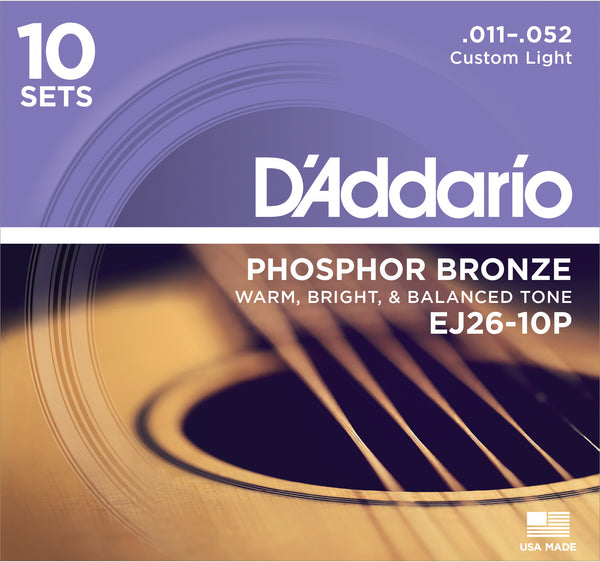 D'Addario EJ26-10P Phosphor Bronze 11-52 Custom Light Acoustic Guitar Strings Pack of 10 sets