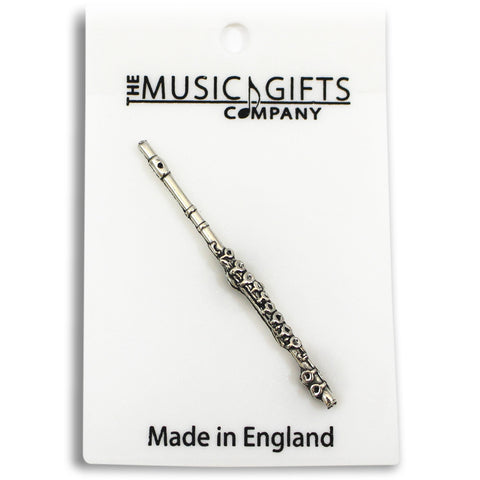 Pewter Flute Pin Badge
